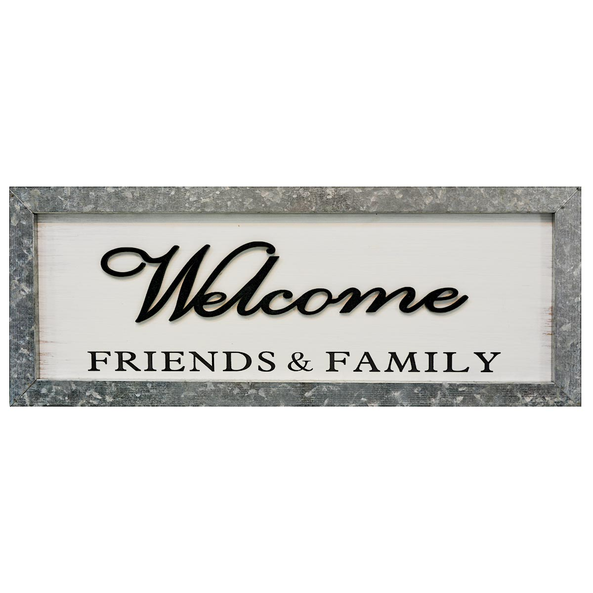 """8"""" x 20"""" WELCOME FRIENDS & FAMILY WOOD SIGN W/ METAL FRAME"""
