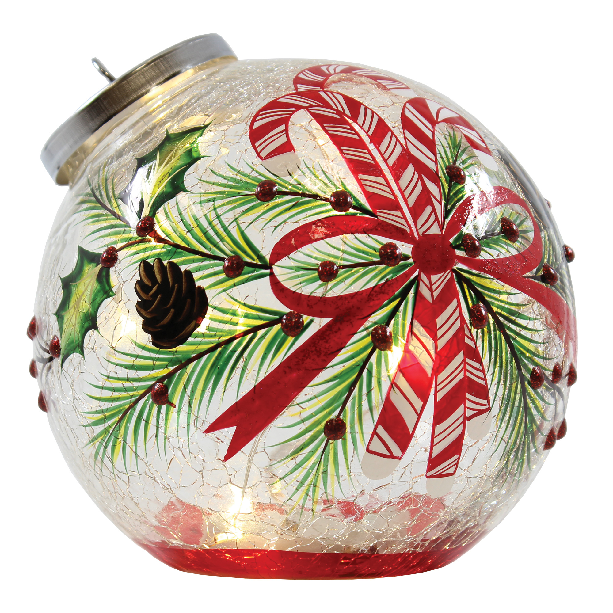 """5.5"""" x 6"""" x 5.5"""" CANDY CANE ORNAMENT WITH LIGHTS"""