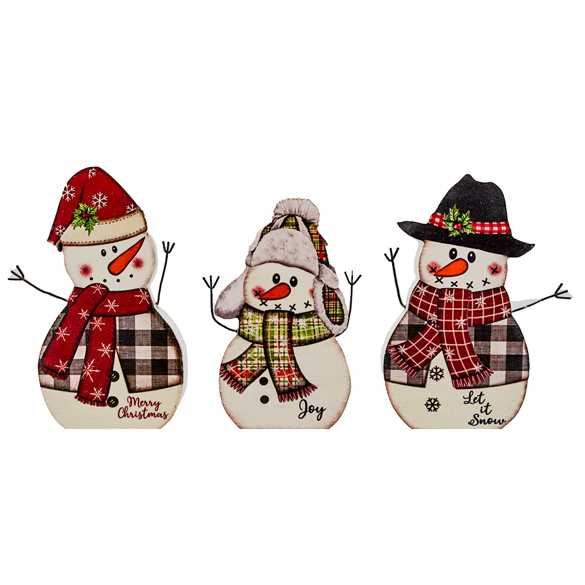 "6.5"" WOOD STANDING SNOWMAN SET OF 3"