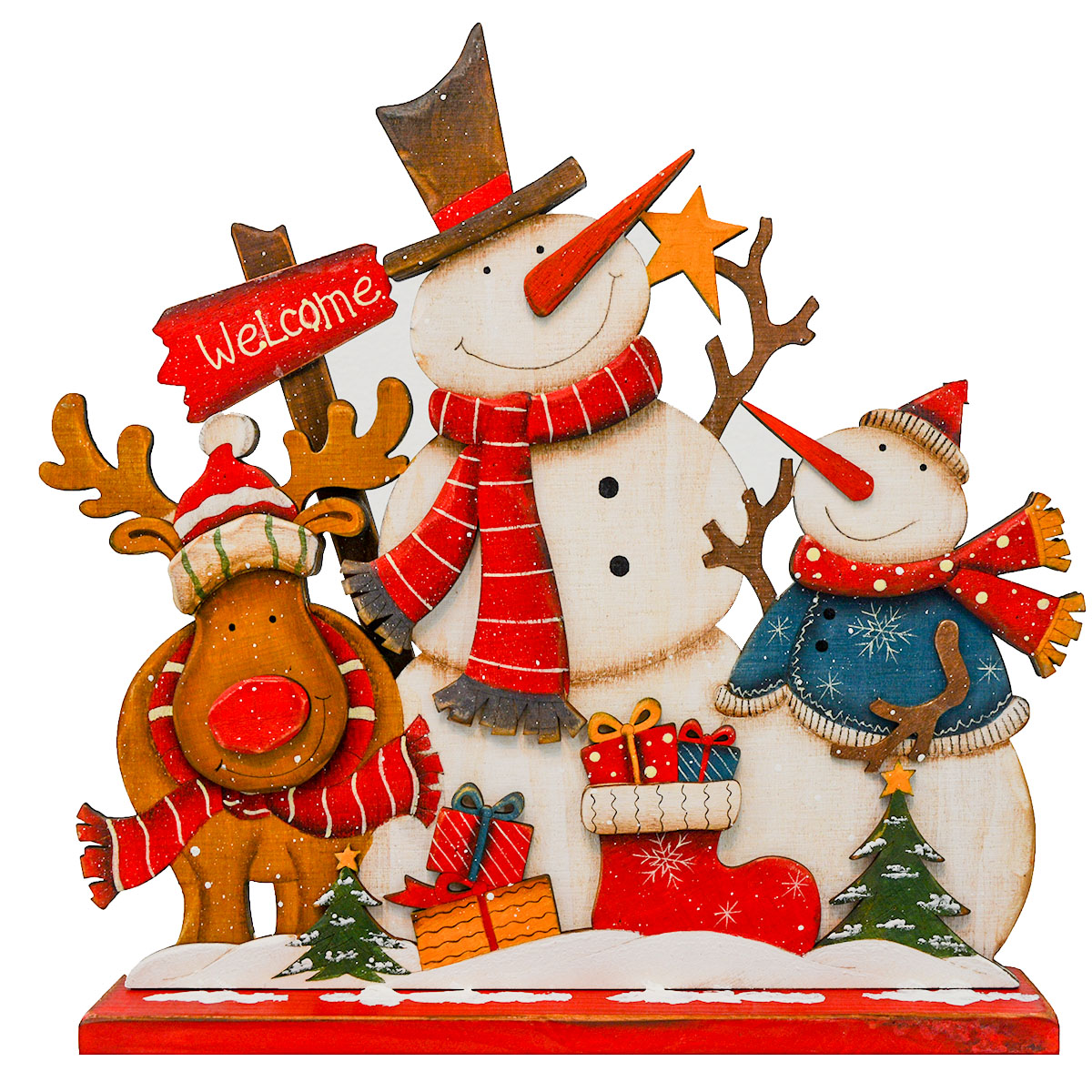"14"" X 13"" 2 SNOWMAN/ 1 MOOSE PLAQUE ON BASE"