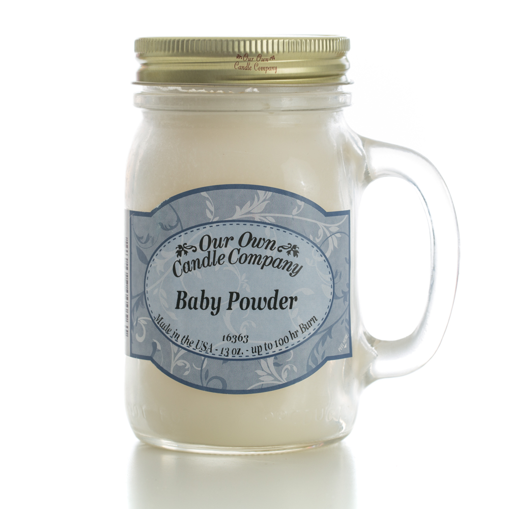 BABY POWDER LARGE MASON CANDLE 13 OZ UPC# 810896000561