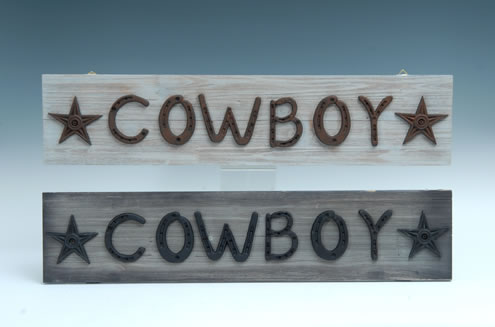 ASST. COWBOY WOOD PLAQUES SET OF 2 $12.50 EACH UPC# 050262331343