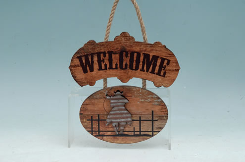 WOOD COWBOY WELCOME PLAQUE UPC# 050262331442