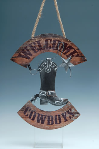 WOOD COWBOY BOOT PLAQUE UPC# 050260331480