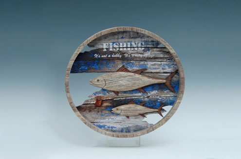 WOOD PLAQUE FISHING DESIGN UPC# 050262336874
