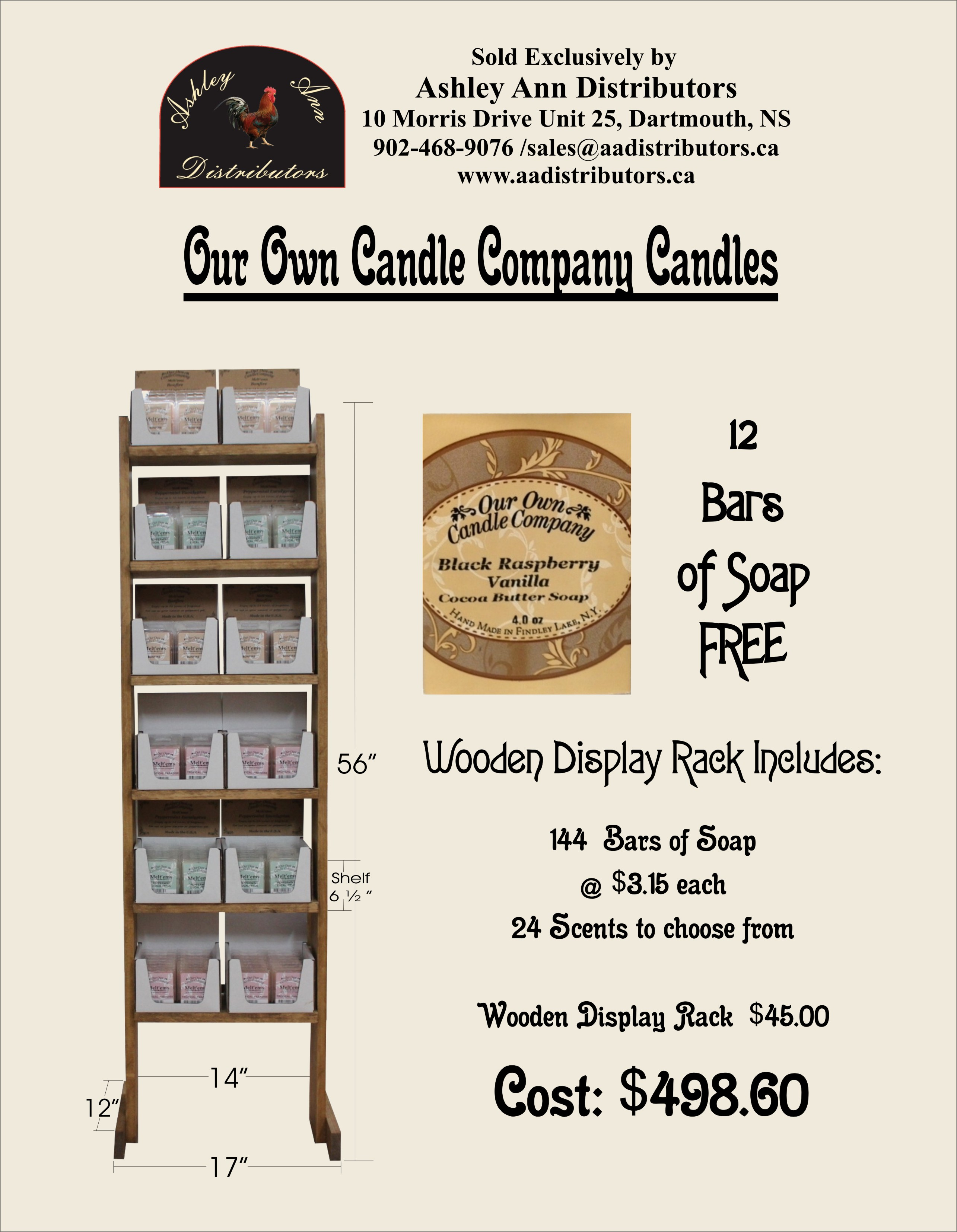 OUR OWN CANDLE COMPANY SOAP DISPLAY