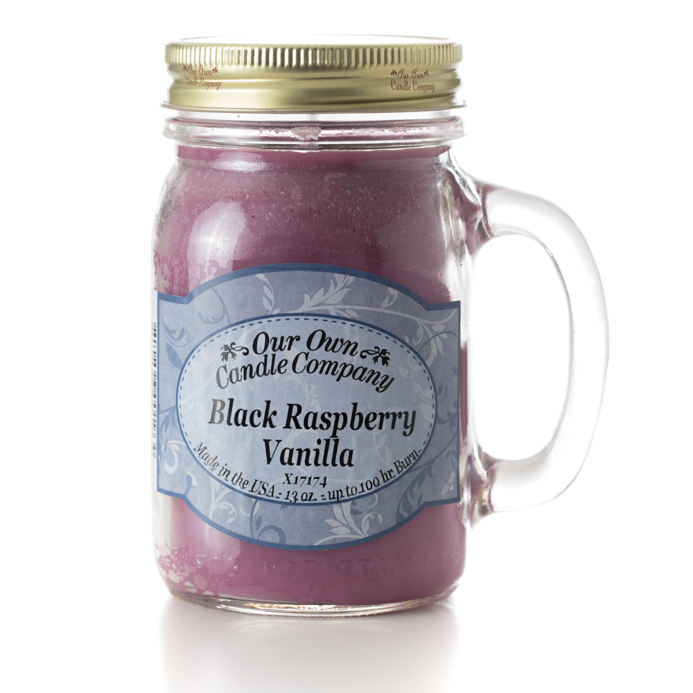 BLACK RASP VANILLA LARGE MASON CANDLE 13 OZ UPC# 810896001964