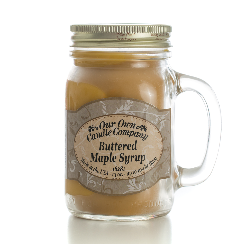 BUTTER MAPLE SYRUP LARGE MASON CANDLE 13 OZ UPC# 810896002114