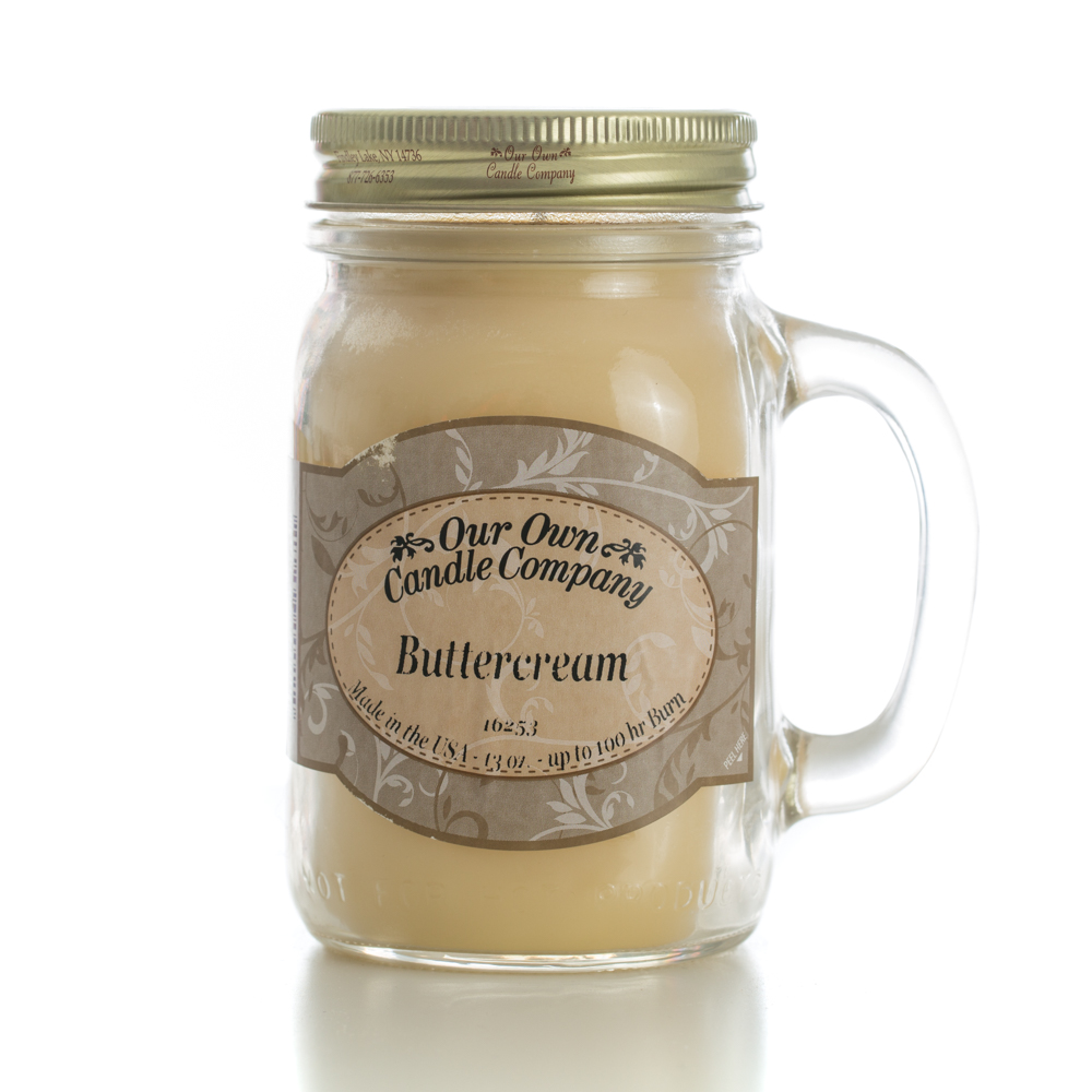 BUTTERCREAM LARGE  MASON CANDLE 13 OZ UPC# 810896000110