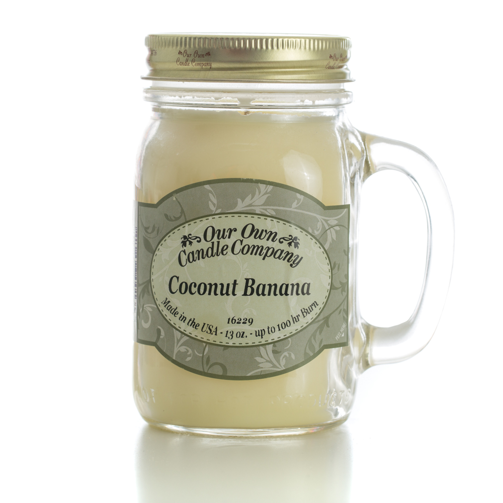 COCONUT BANANA LARGE MASON CANDLE 13 OZ UPC# 810896001353