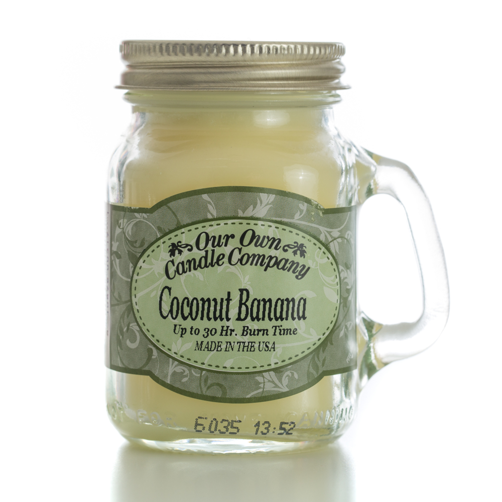COCONUT BANANA MINI MASON CANDLE 3.5 OZ UPC# 810896005191