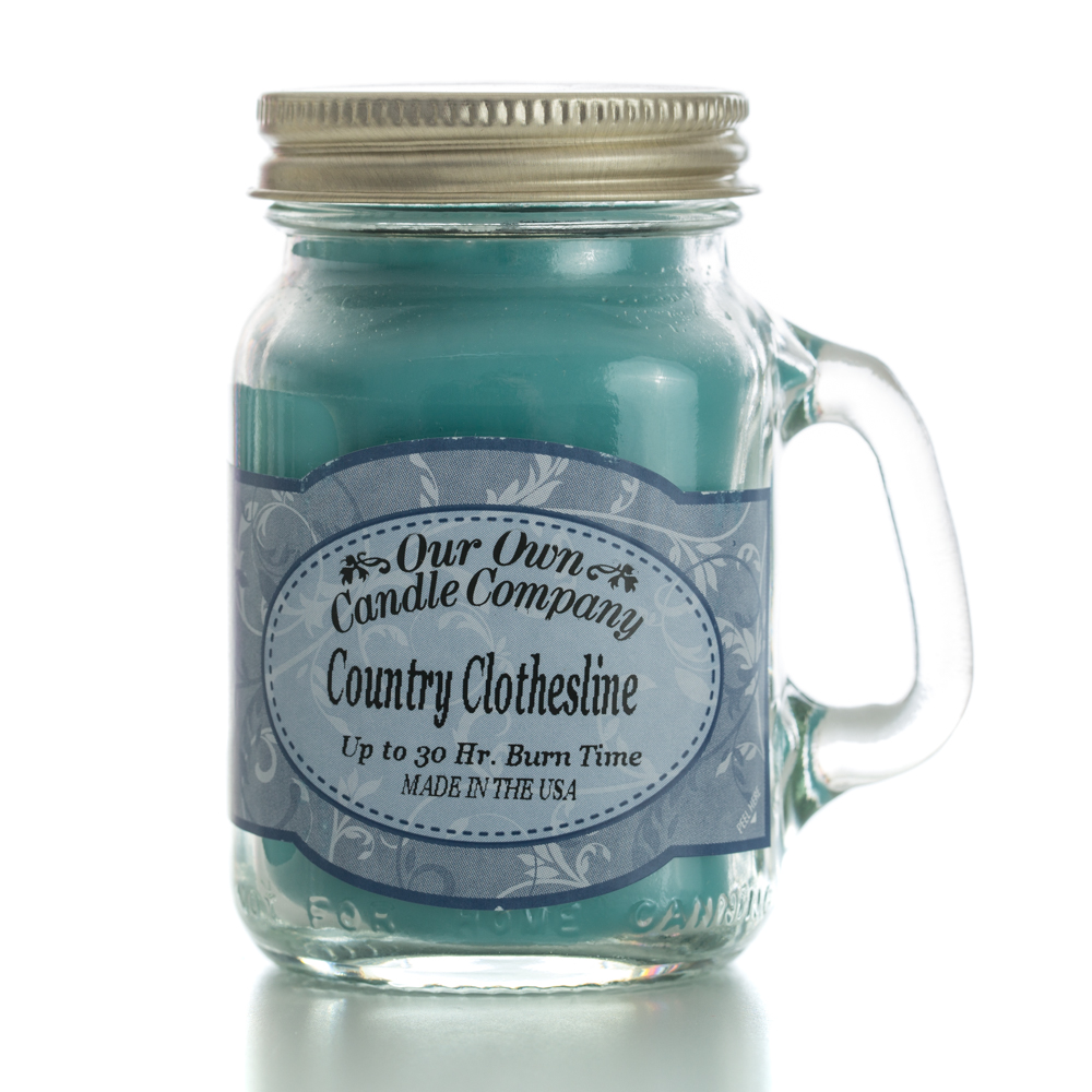 COUNTRY CLOTHESLINE MINI MASON CANDLE 3.5 OZ UPC# 810896005214