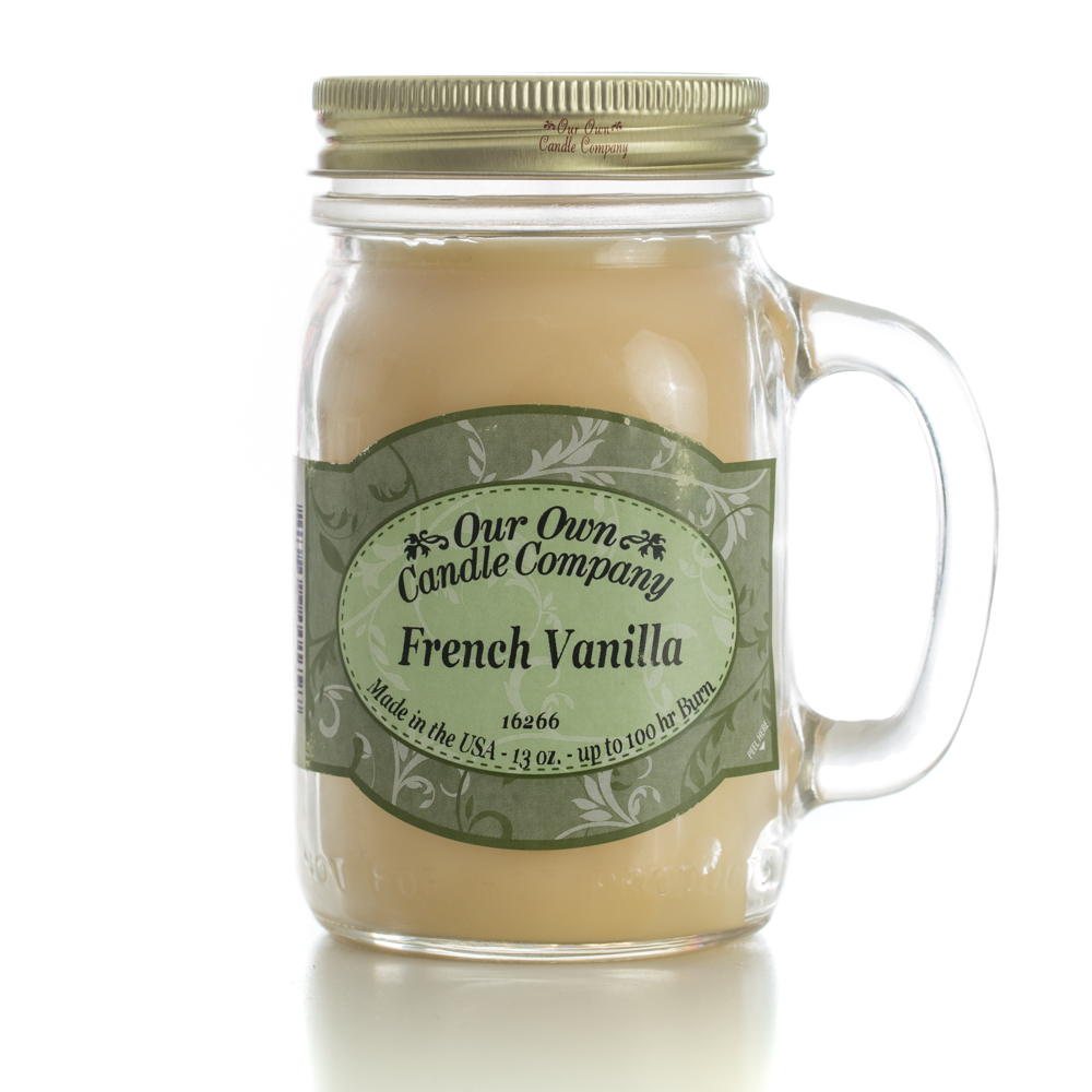 FRENCH VANILLA LARGE MASON CANDLE 13 OZ UPC# 810896001797