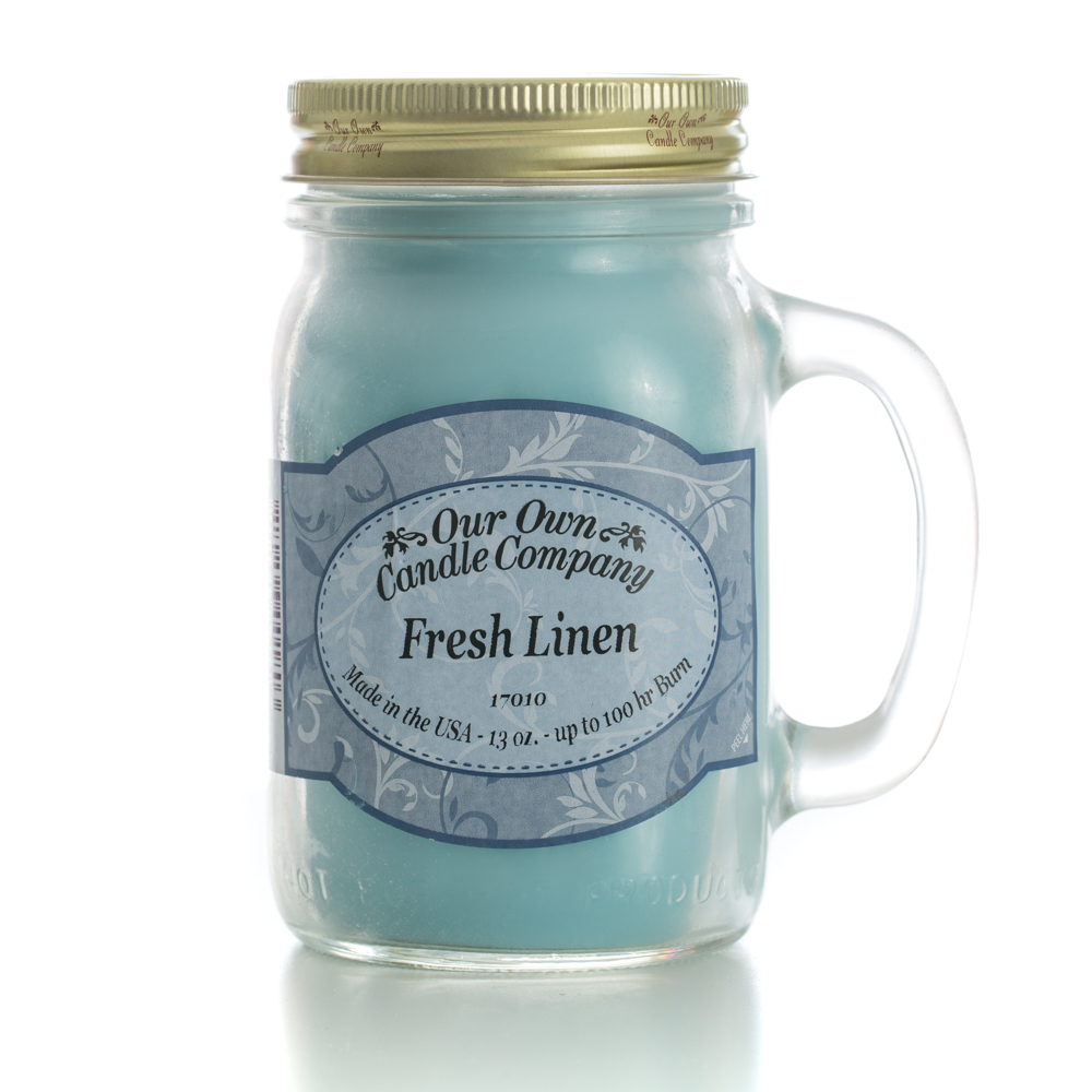 FRESH LINEN LARGE MASON CANDLE 13 OZ UPC# 810896001803