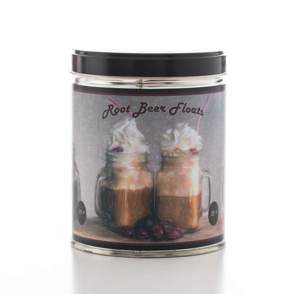 ROOTBEER FLOAT TIN CANDLE 13 OZ UPC# 813542022368