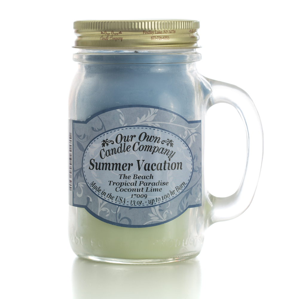 TRIPLE SUMMER VACATION LARGE MASON CANDLE 13 OZ UPC# 810896000691
