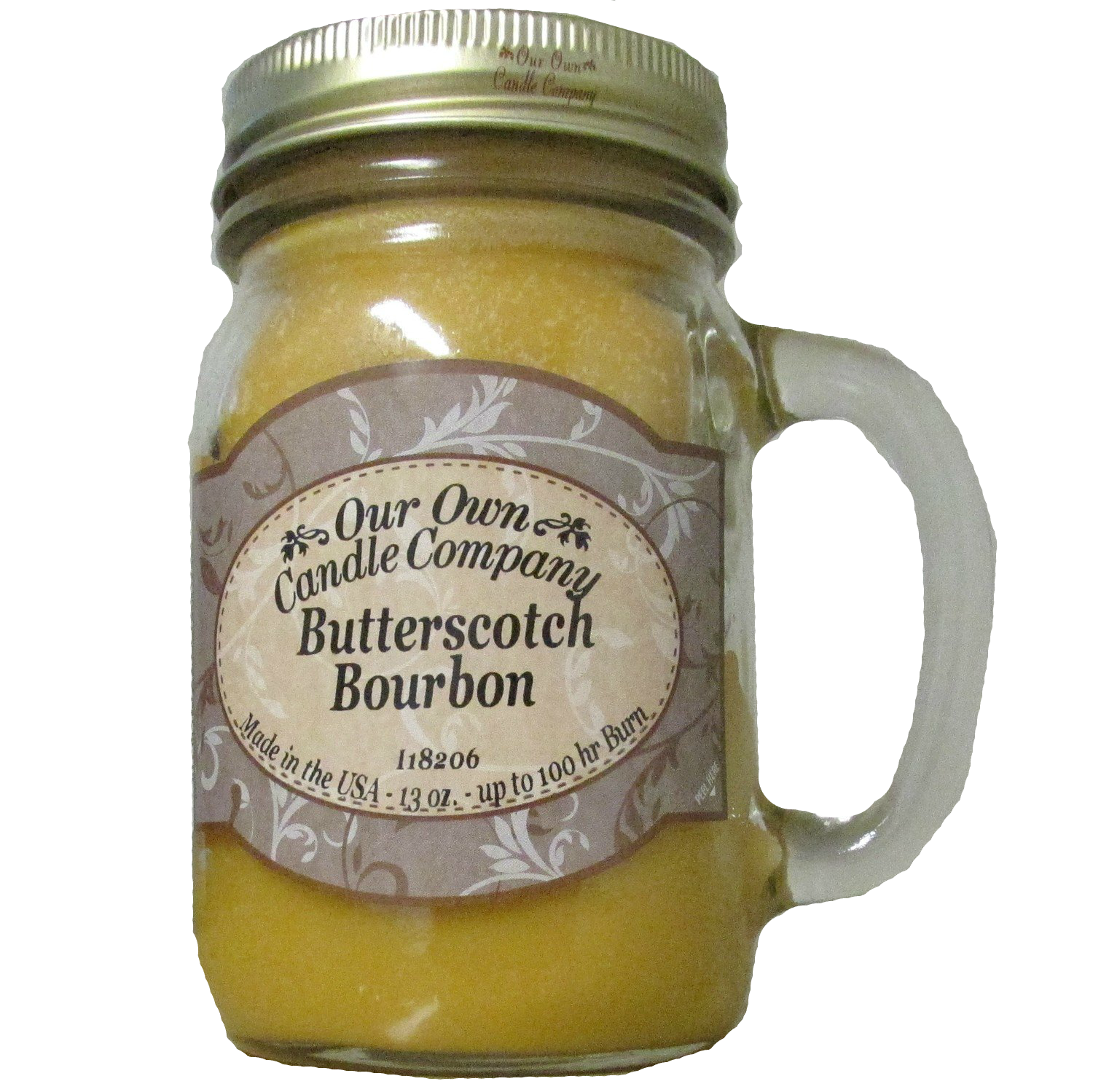 BUTTERSCOTCH BOURBON LARGE MASON CANDLE 13 OZ UPC# 810896002367