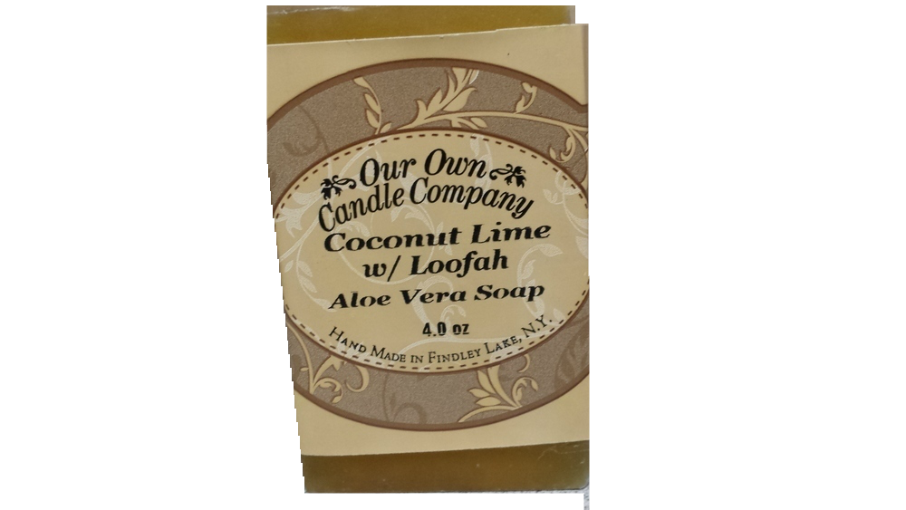 COCONUT LIME W/LOOFAH  GLYCERIN SOAP 4 OZ UPC# 813542026250