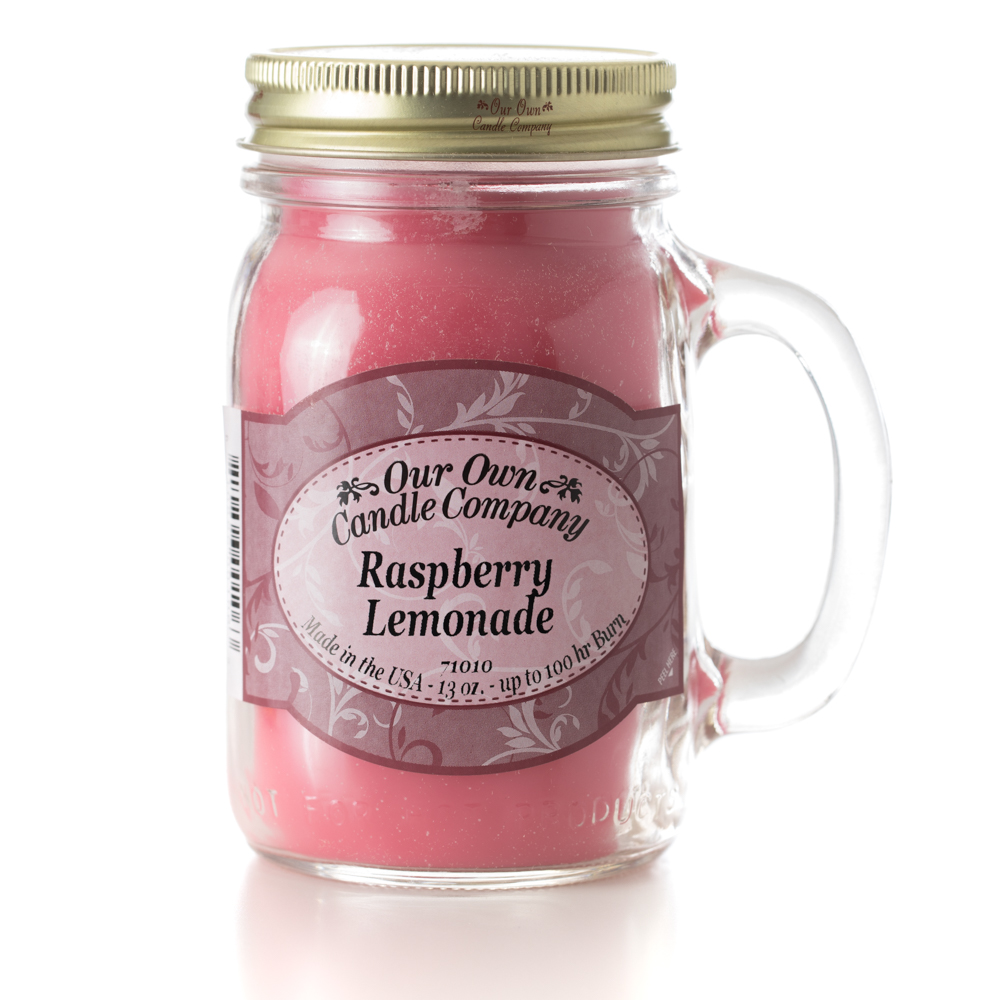 RASPBERRY LEMONADE LARGE MASON CANDLE 13 OZ UPC# 810896001063