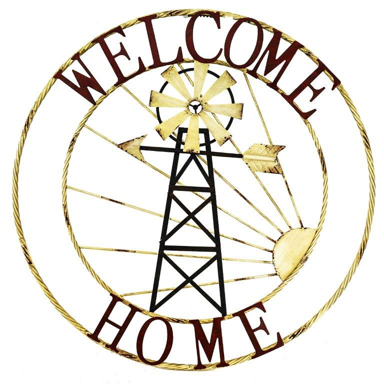 """28"""" WELCOME HOME W/WINDMILL ROUND SIGN UPC# 808765801739"""