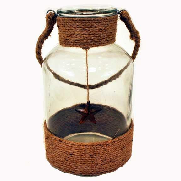 """12"""" x 7.5"""" ROPE GLASS CANDLE JAR"""