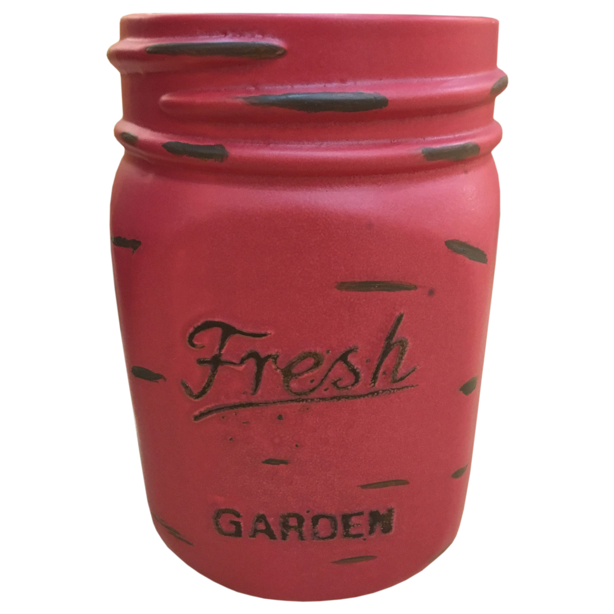 LARGE MASON JAR PLANTER- RED