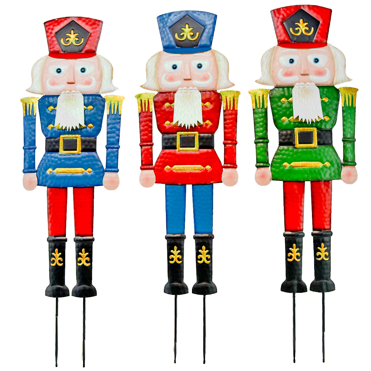 "12"" x 45"" METAL CHRISTMAS SOLDIERS SET OF 3"