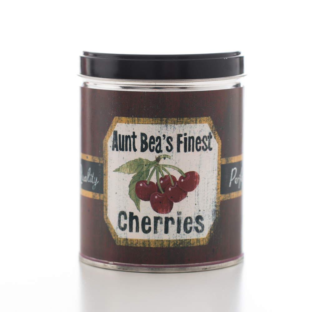 BLACK CHERRIES TIN CANDLE 13 OZ UPC# 813542022160