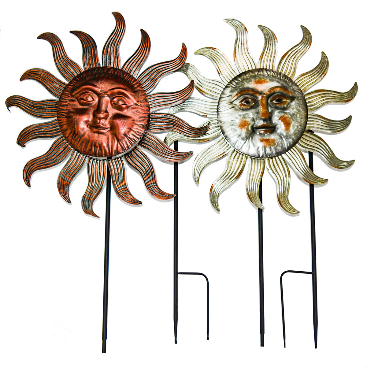 """77"""" x 27"""" SET OF 2 METAL SUN FACE SPINNERS $36.00 EACH UPC# 808765821003"""