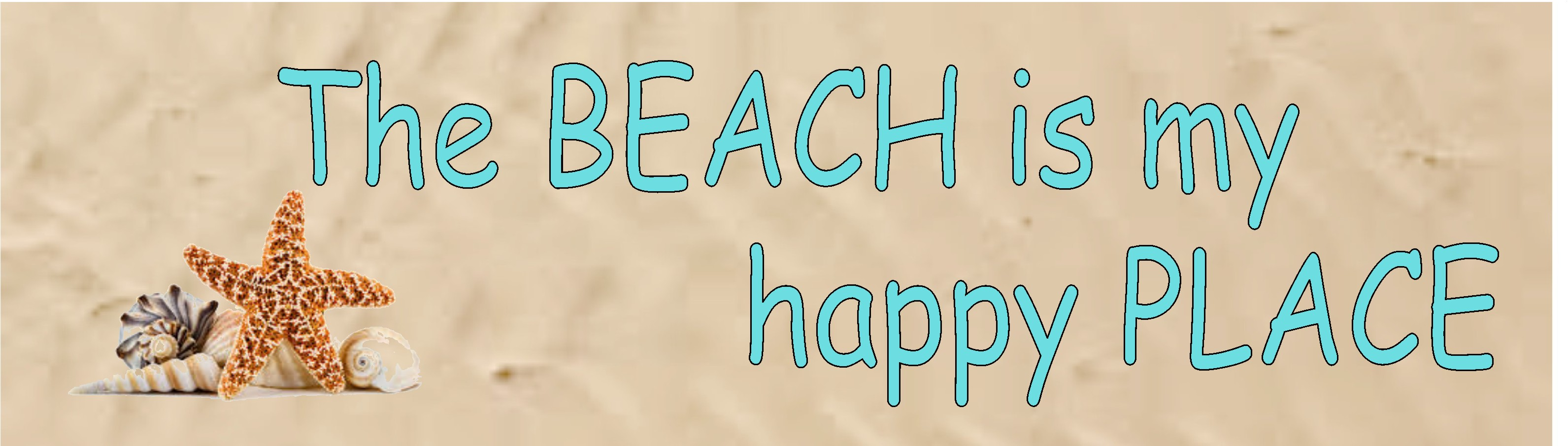 """THE BEACH IS MY HAPPY PLACE 10.5"""" X 3"""" WOODEN BLOCK SIGN"""
