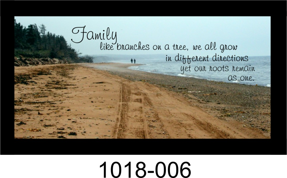 """FAMILY LIKE BRANCHES ON A TREE 10"""" x 18 3/4"""" WOODEN PINE FRAMED SIGN"""